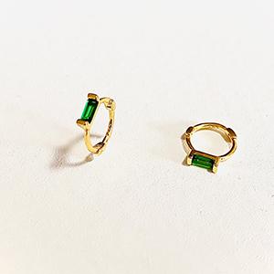 Small cuff green CZ hoop earrings