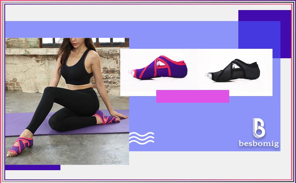 besbomig Calcetines Yoga, Zapatos de Yoga para Mujeres ...