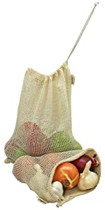 mesh net produce string cloth cotton apple onion potato avocado durable drawstring stretchable fresh