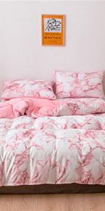 pink marble duvet cover
