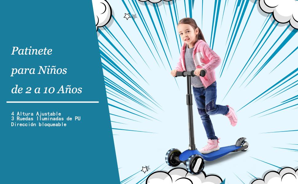 XJD Patinete de 3 Ruedas Iluminadas para Niños de 2 a 10 Años con CE Certificación Altura Adjustable de Manillar Poste Desmontable Super Ligera para ...