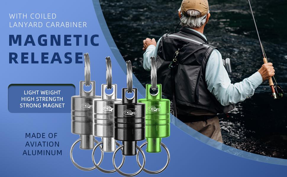 Ajcoflt Fishing Magnetic Tool Release Holder Fliegenfischer Retraktor Net Release Clip mit Schl/üsselbund Karabiner