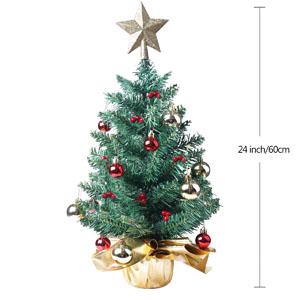 Xmas Decoration Tree D/écor 24 Tabletop Christmas Tree Miniature Pine Christmas Tree with Hanging Ornaments