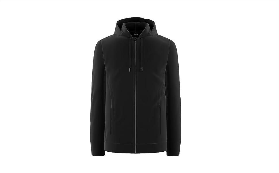 Hoodies for Men | Full Zip Up Active Sweatshirt Tech Fleece in Black & Grey | Comfort 360°