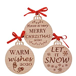 Amazon Com Heart S Sign Merry Christmas 2020 Wooden Rustic Ornaments Set Of 3 Let It Snow Warm Wishes 2020 Hanging Christmas Decorations Kitchen Dining