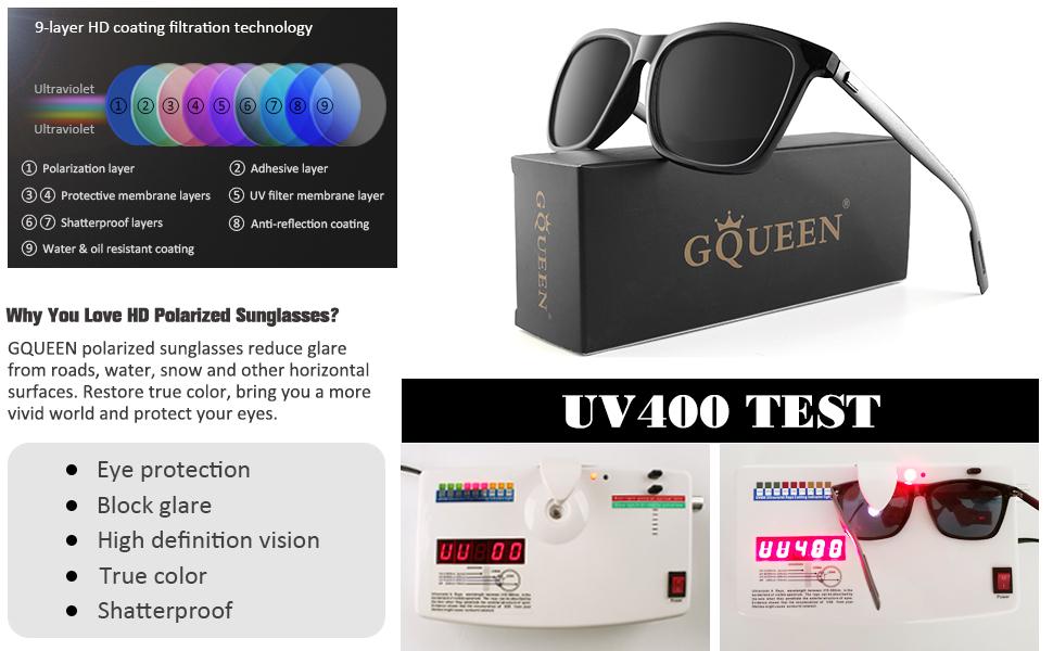 GQUEEN Polarized Sunglasses for Men Women Classic Ultra Light Al-Mg Square Rectangle Driving Sun Glasses GQ33