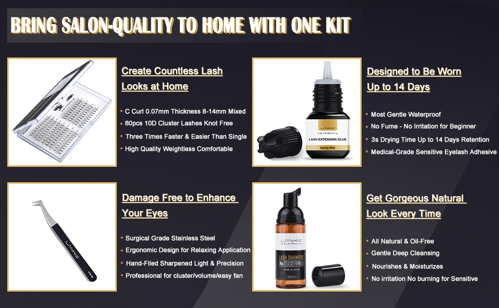 home diy lash extention kit including cluster lashes, sensitive eyelash adhesive shampoo tweezers