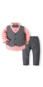 Boys 3Pcs Clothing Sets Long Sleeve Bowtie Shirts Vest Pants Casual Suit