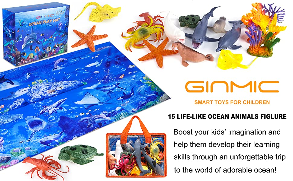 Ocean Animals Toys with Large Play Mat