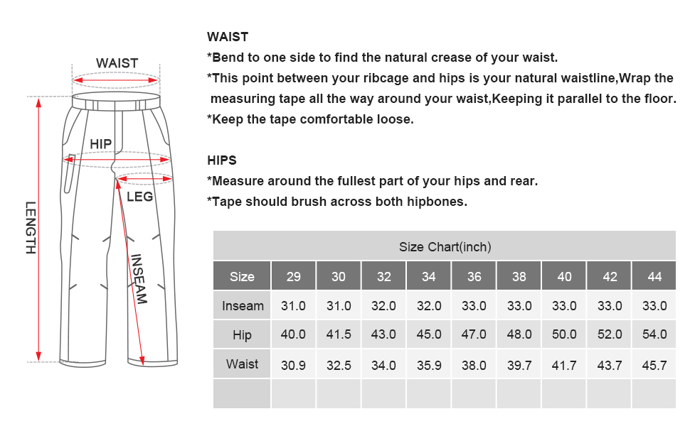 men's bdu pants size chart