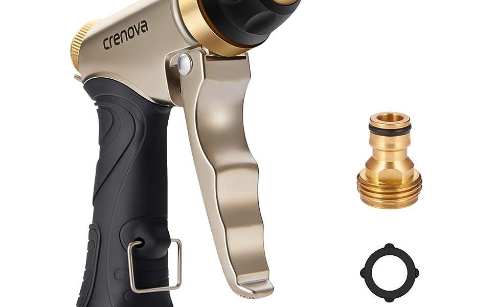 Pistola de Riego   Crenova HN-01 Pistola para Manguera de riego para el jardín - Alta Presión - Metálico 100% - Regulable del Caudal de Agua - Robusto para Lavado de Coches,