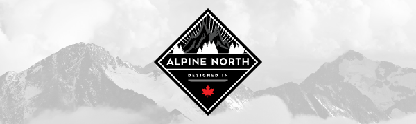 Snowy mountains with diamond-shaped Alpine North logo in front of it.
