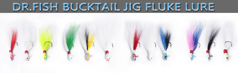 L-MEIQUN 2pcs Bucktail Jig Fishing Lure 3D Eyes Bluefish Surf Fish Lure Blanco//Amarillo