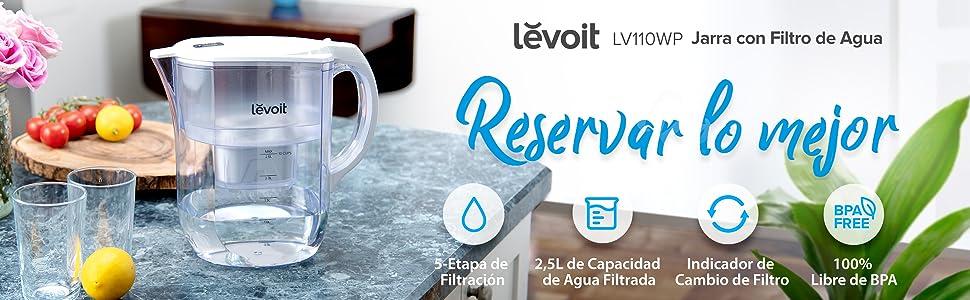 Levoit Jarra de Agua Filtrada 2,5L con 1 Filtro hasta 60 Días ...