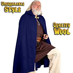Mythrojan WOOLEN HOODED CLOAK WITH INTRICATE BRASS BROOCH Medieval Knight Maid Ranger  cloak cape