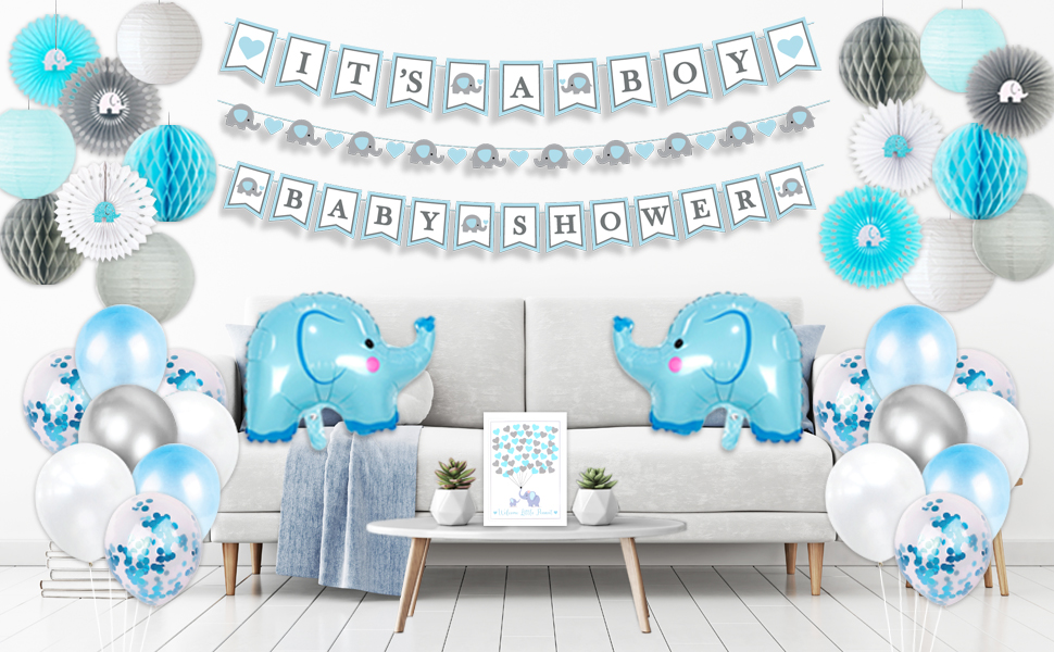globos bebe elephant baby shower supply it's a boy banner guestbook balloons fan lantern honeycomb
