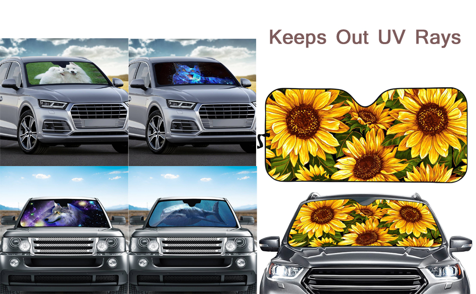 GOFLIES Sunflower Windshield Sun Shades Visor Car Front Window Sunshade UV Protect