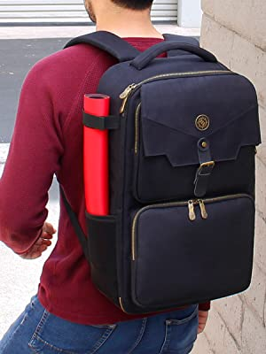 Person carrying backpack with card mat