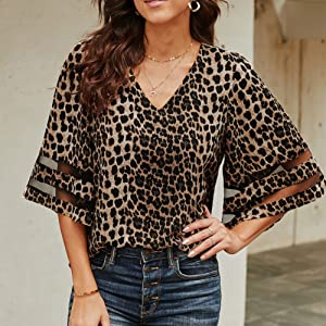 Sexy v neck, sheer patchwork sleeve, charming leopard print all over the top