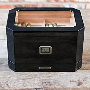 removable cedar tray divider large black octagon shape wood solid real glass top display
