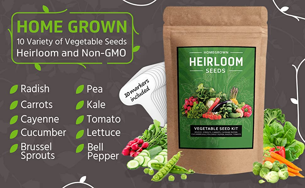 Heirloom, Seeds, Non GMO, Brussel Sprouts, Carrots, Peppers, Cucumber, Kale, Peas, Radish, Tomato