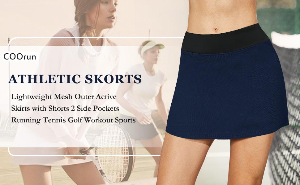 High waisted tennis skirts for women, Lightweight breathable side slit tennis skirt, skorts