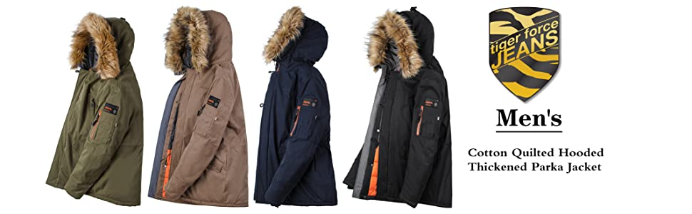 TIGER FORCE Mens Parka Jacket Waterproof Cotton Quilted Coat Winter Outwear with Real Fur Hood Thick Outdoor Snowjacket