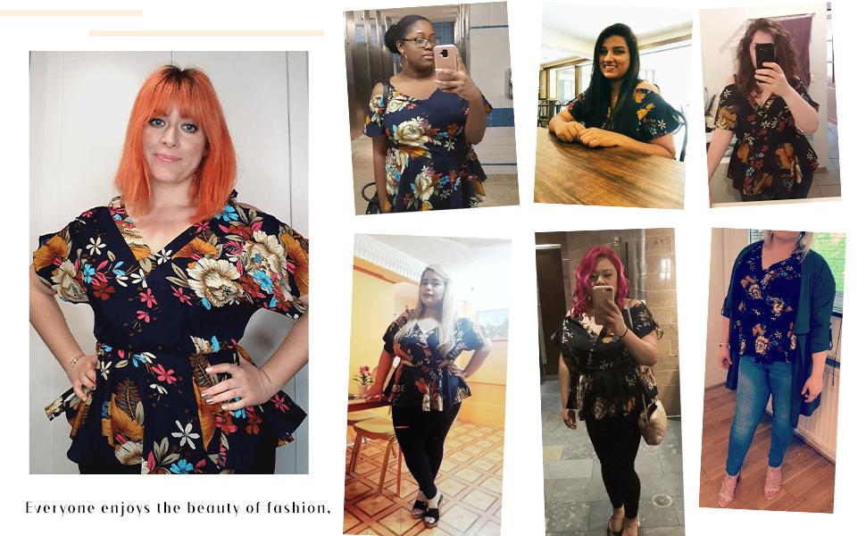 SheIn Women's Plus Size Short Sleeve Cold Shoulder Floral Peplum Top Blouse