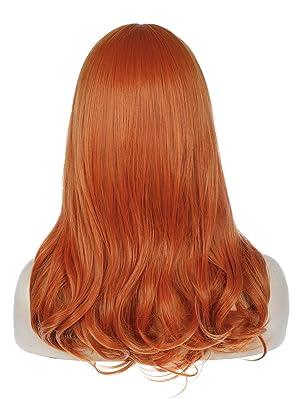 orange long wavy wig