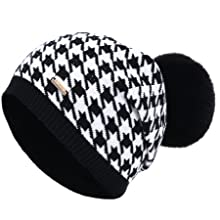 Houndstooth slouchy beanies