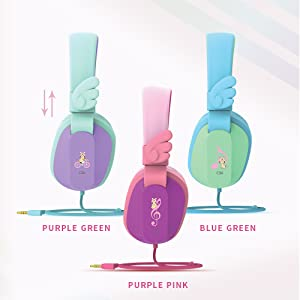 CS6 kids headphones wired - Kids Headphones, Riwbox CS6 Lightweight Foldable Stereo Headphones Over Ear Corded Headset Sharing Function With Mic And Volume Control Compatible For IPad/iPhone/PC/Kindle/Tablet (Purple&Green)