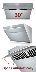 Gray FOTILE JQG7501.G 30 Range Hood Under Cabinet Kitchen Stainless Steel Wall Mount with LED Light