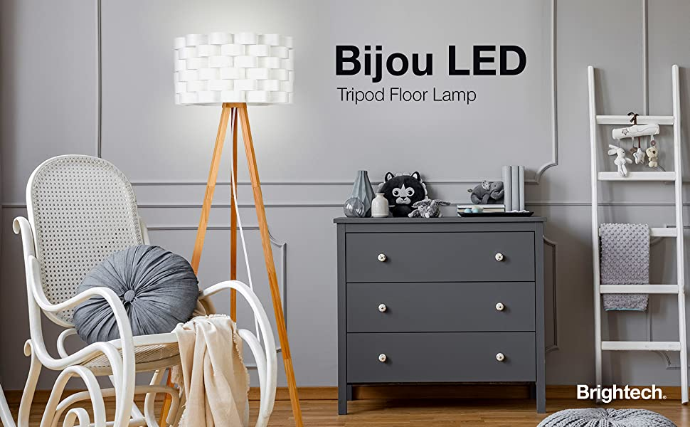 Brightech Bijou LED Tripod Floor Lamp Contemporary Design for Modern Living Rooms