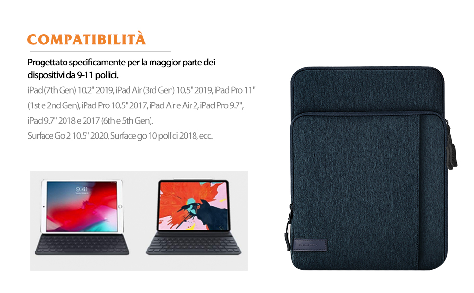 Sleeve per Tablet Compatibile con iPad 8th Gen 10.2 iPad Air 4 10.9 iPad PRO 11 in Poliestere Resistente con Due Tasche a Zip MoKo Custodia Protettiva da 9-11 inch Nebbia Blu