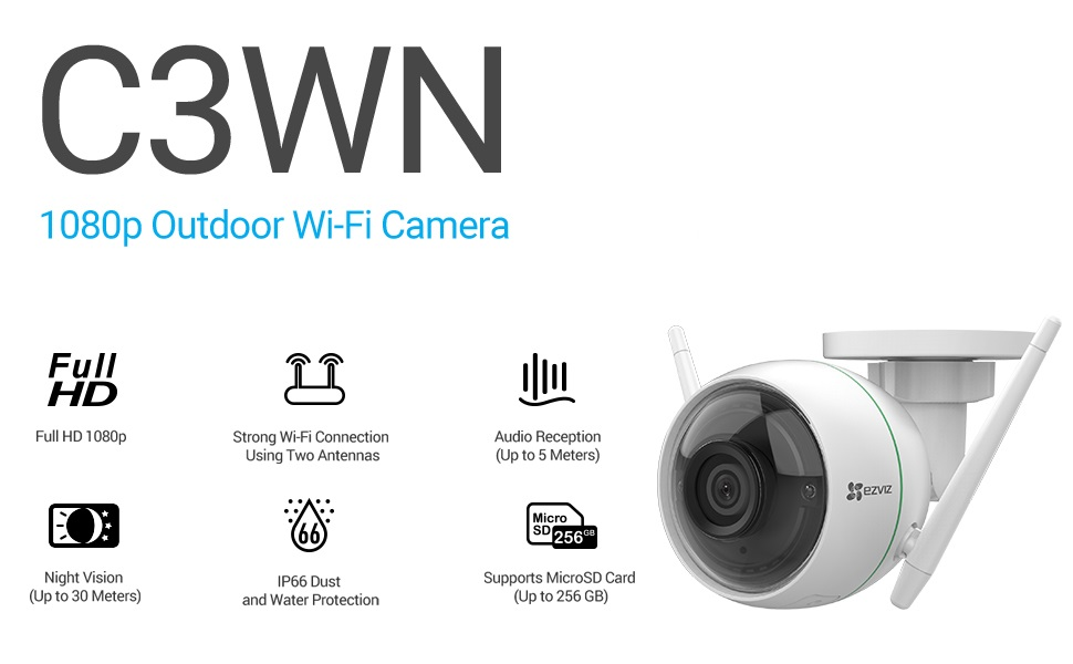 Amazon Com Ezviz Security Camera Outdoor 1080p Wifi 100ft Night Vision Weatherproof Smart Motion Detection Zone 2 4ghz Wifi Only C3wn Camera Photo