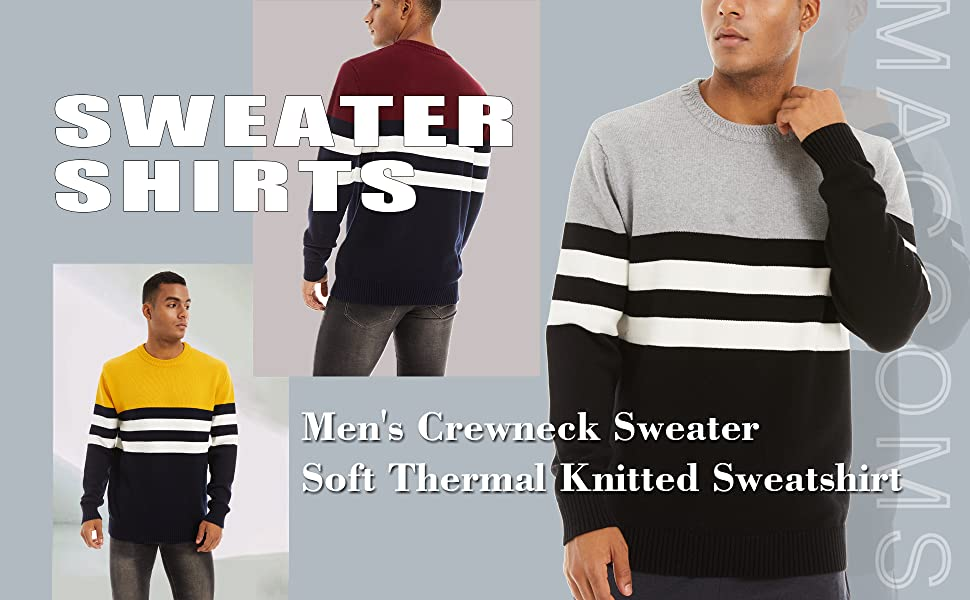 mens sweaters crewneck pullover basic thermal sweater midweight casual fall pullover multi-color