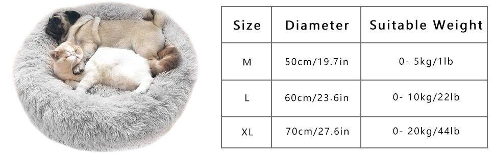 Haustierbett Hundebett Katzenbett Rund Weich Und Weich Für Haustiere Welpen Haustier Katzenbett In Doughnut Form 60cm Hellgrau Haustier