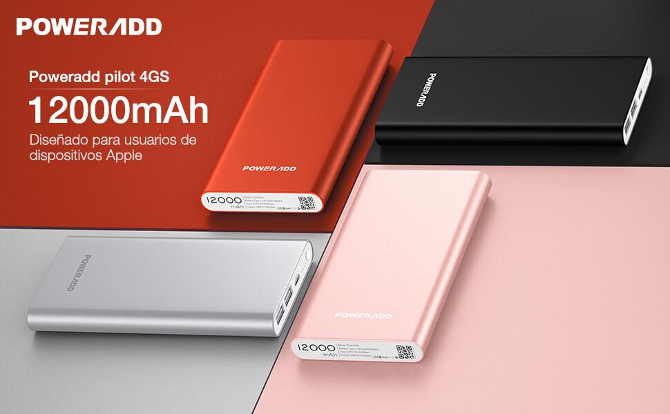 POWERADD Pilot 4GS 12000mAh Power Bank Cargador Portátil Dual Puerto Salida (3A Salida de Alta Velocidad) para iPhone iPad iPod Samsung y Más-Rojo ...