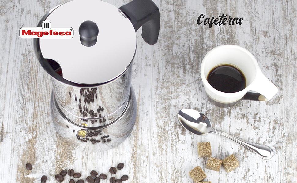 MAGEFESA Colombia – La cafetera MAGEFESA Colombia está Fabricada en Aluminio Extra Grueso. Pomo y Mangos ergonómicos de bakelita Toque Frio. (Negro, ...