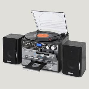 Auna TC-386 - Tocadiscos, Minicadena Hi-fi, Radiocasete, Altavoces estéreo, Reproductor de CD, Compatible MP3, Digitalizador USB, Ranura SD, Radio FM, ...