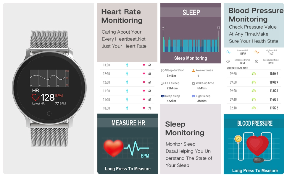 moreFit Vogu Smart Watch,IP68 Waterproof Activity Tracker