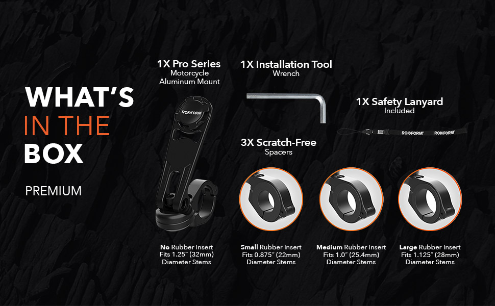 rokform pro series motorcycle handlebar mount, easy installation, low profile, compact, tough secure
