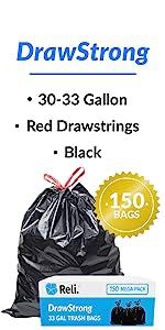 Reli. DrawStrong 30 Gallon Trash Bags Drawstring (150 Count, Bulk)