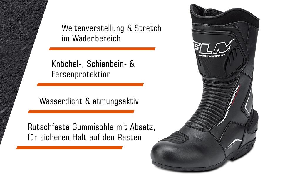 Flm Motorradschuhe Herren Damen Motorradstiefel Lang Sports Stiefel 2 0 Unisex Sportler Ganzjährig Leder Schuhe Handtaschen