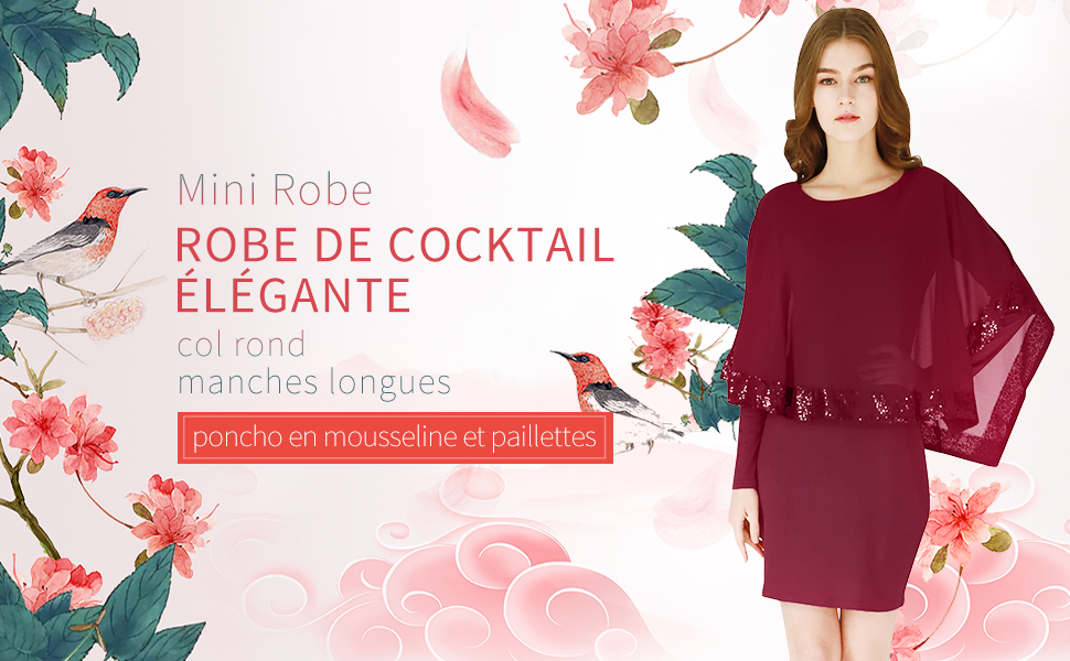 YMING Femme Robe de Cocktail avec Mousseline Poncho Patchwork de Paillettes Robe Mini