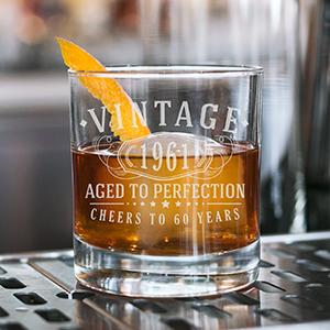 Vintage whiskey glass custom engraved lowball glass for birthdays