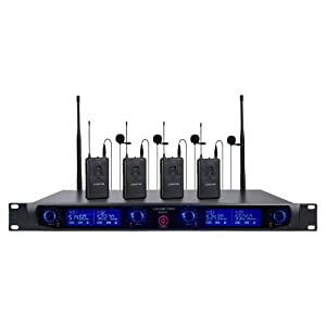 NESO-F4HL Sound Town 4 Channels Professional UHF Rack Mountable Wireless Microphone System