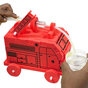 DIY Construction Kit of FIRE ENGINE with a Fun water spray and Ladder.