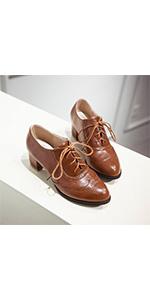 brown brogues heels