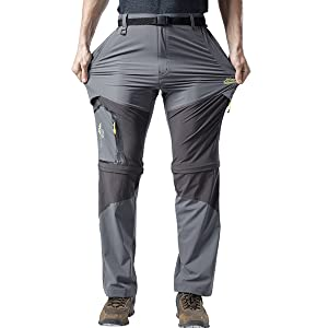 Men's Outdoor Hiking Convertible Pants Quick Dry Lightweight Detachable Sports Pants Military